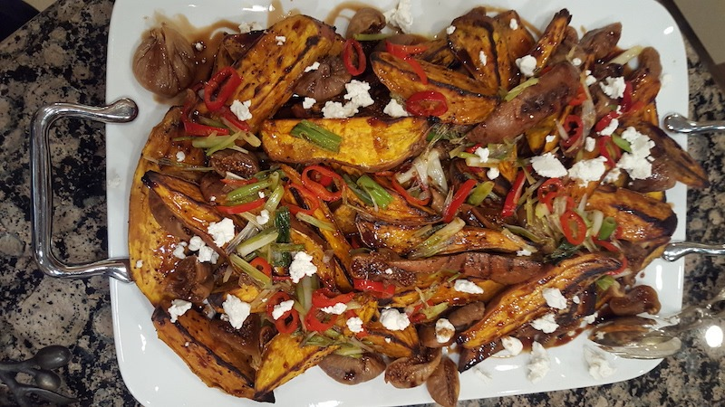 Roasted Sweet Potatoes with Figs and Goat Cheese