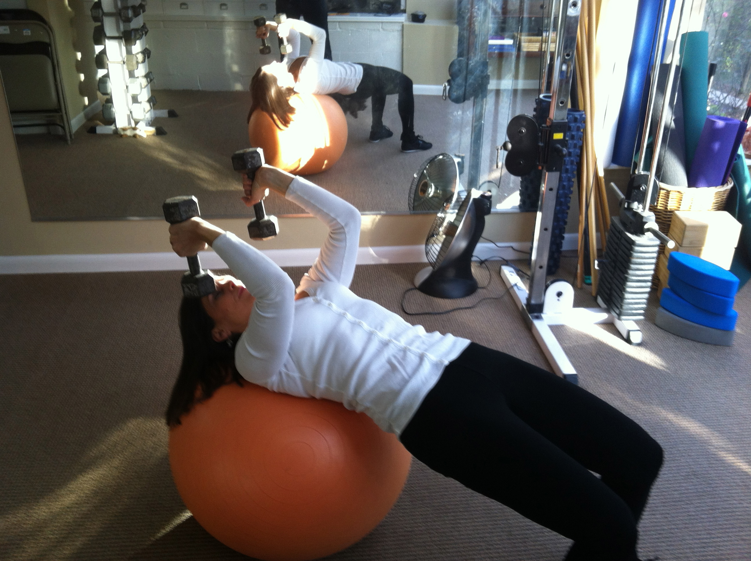 Tricep Presses On Swiss Ball